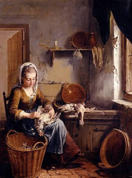 A Scullery Maid Preparing A Chicken
